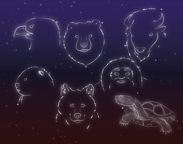 Outline glowing illustrations of the heads of eagle, buffalo, bear, sasquatch, beaver, wolf, and turtle on a night sky full of stars.