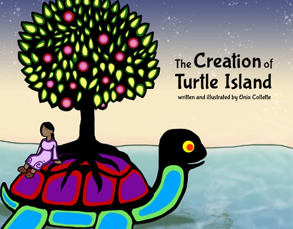 Colourful turtle with a tree and a woman sitting on its shell